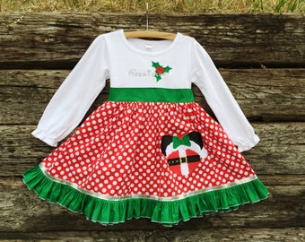 Santa Baby Miss Mouse Inspired Shirt Dress for Girls  Sizes 6m-12yrs.  By Hoot n Hollar Children's Clothing
