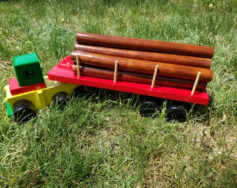 Children's Handmade Wooden Toy Semi Truck with Logging Trailer and  Removable Logs