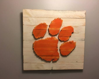 Clemson Tiger Paw 3-D Wood Sign!  Hand Made! National Champions!