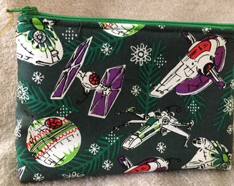 Star Wars Christmas Ornament Zipper Pouch/Makeup Bag with Interior Pockets