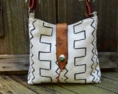 Mud Cloth Shoulder Bag. Purse . Leather . Horse Reins . Buffalo Nickels . Turquoise Sterling Silver