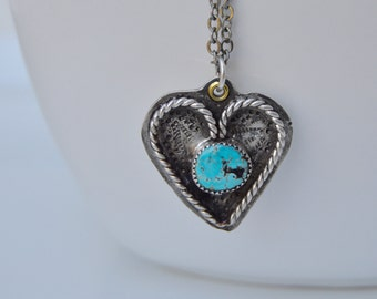 Sterling Heart Necklace  . Old Turquoise . Rustic . Earthy . Boho .
