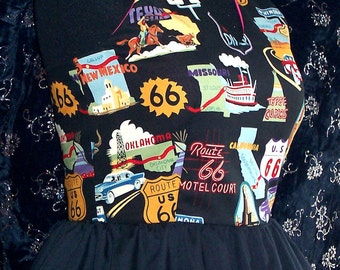 ROUTE 66 Halter Top with peplum or without-Retro/Rockabella/RollerDerby/DragRace---Hot Rod clothing