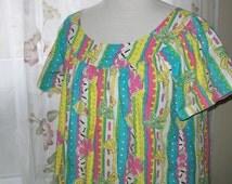 Retro house dress - 70s house dress - women's house dress - size med - cotton house dress - retro clothing - 70s clothing - cotton dress