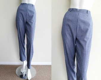Vintage Blue Checkered Pattern High Waist Pants