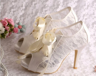Custom handmade ivory white satin bow tie front mid heel bridal wedding lace ankle mary jane peeptoe boot platform court