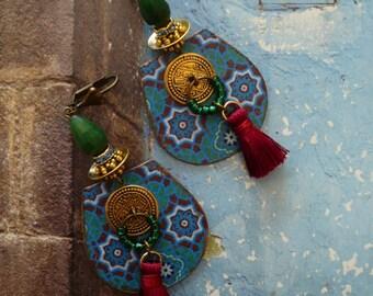 Earrings Bohemian gypsy - hippie chic - bohemian - folk - nomad earrings - tassel earrings earrings - FUJIGIRLS