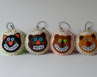 Handmade Halloween Cats Ornaments Set of 4 Awesome Cats