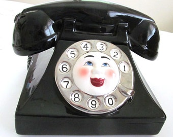Goegeous Vintage Ceramic  Rotary Dial  TELEPHONE COOKIE JAR by Clay Art   Party Line