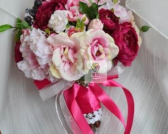 artificial flower wedding bridal bouquet pink rose peony