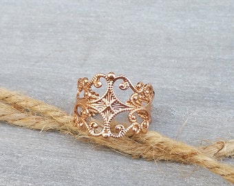 Rose gold filigree ring, Adjustable ring, Statement ring, Rose gold band ring, Bridesmaid gifts, Floral ring, Rose gold jewelry
