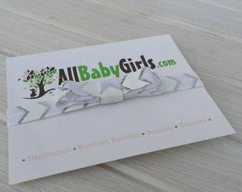 Baby Bows, Infant Headbands, Baby Headband, Silver Headband, White Baby Headband, Newborn Headbands, Headbands For Babies, Newborn Headband