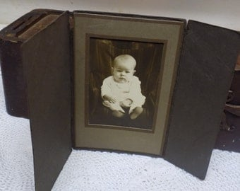 Vintage Black and White Baby Photograph with Cardboard Cover  B156