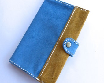 Notebook cover, Size S, with book, Memo cover, Journal cover, Light Blue & Yellow, Diary cover, Handstitched, Free Shipping within Australia