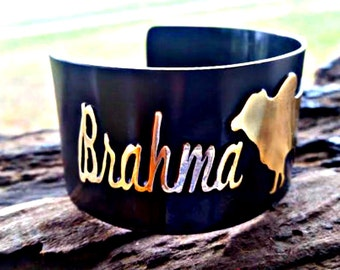 Brahma Mama Cuff, Brahman Jewelry, FFA Cattle Jewelry, Rustic Bracelet, Cattle Ranch, Farm Jewelry, Animal Jewelry, Brahma Bull, Cow Farmer