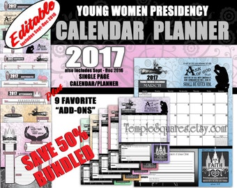 Printable  Editable YW Young Women Presidency Calendars Planners 2017 Ask of God Ask in Faith Mutual Theme Time Savers James 1 5-6
