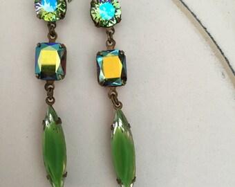 Earrings/Swarovski 3 stone/peridot