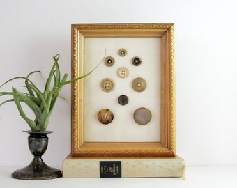Horn Button Collection - Framed Vintage Button Art - Natural Horn Buttons in Vintage Shadow Box Frame - Neutral Home Decor Sewing Room Decor