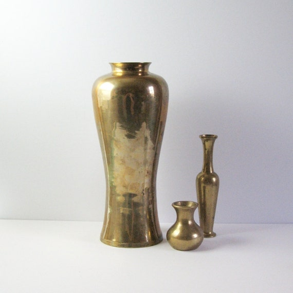 Vintage tall brass vase brass home decor tall by lastcentury for Brass home decor