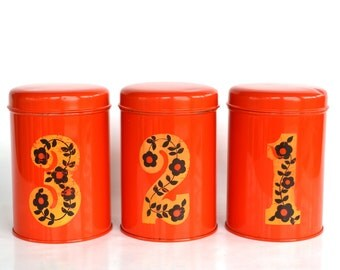 1 2 3 Dutch kitchen storage tins, orange containers, canister set of 3 vintage retro 60s flower power numbered tins desk organiser gift