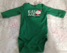 Carter's Infants Green Onesie Size 3 Months, Babies 1st Christmas, Kiss Me, No Mistletoe Required  ~ Ugly Christmas Onesie