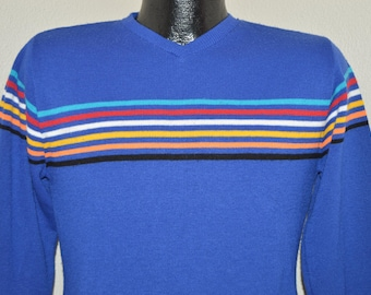 80s Striped Blue Sweater Small