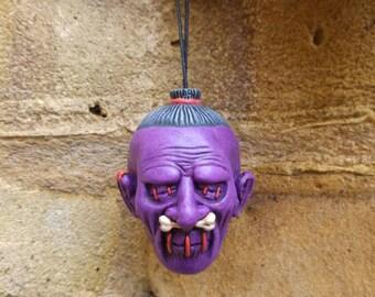 Purple Shrunken Head Ceramic Dangler Dead Head Danglers tsantsa