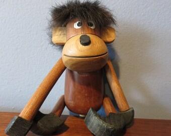 Vintage Mid-Century Zoo Line Style Hanging Wooden Teak Ape Monkey