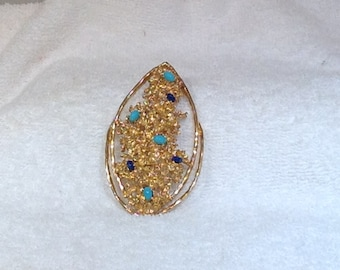 Panetta Brooch with Turquoise and Blue Stones