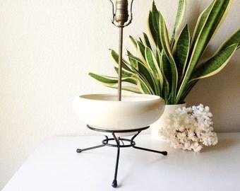 Vintage tripod planter lamp mid century table lamp with ceramic plant holder retro lighting flower pot