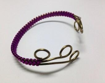 Purple & Brass Wrapped Cuff, Adjustable Bracelet