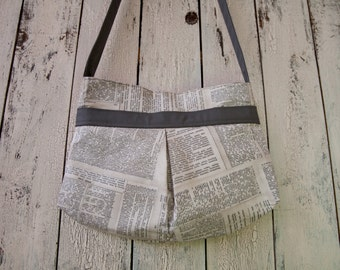 Newsprint Handbag - Newsprint Shoulder Bag - Newsprint Purse