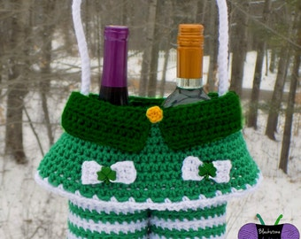 Lady Leprechaun Gift Basket - PDF crochet pattern ONLY - St. Patrick's Day, Tote, Wine, Holiday Party, Gift, Hostess, Pub, Irish