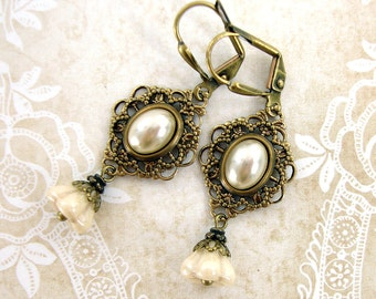 Ivory Pearl Cabochon and Flower Earrings - Cottage Chic Shabby Vintage Style Wedding Jewelry - Brass Filigree Leverback Clip On Earrings