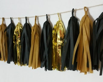 Only 14.99, 20 Tassel Academy Awards Tissue Paper Garland, Academy Awards Party Decorations, Oscars Party Banner, Streamers, Black and Gold