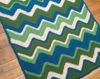Baby Boy Chevron Baby Blanket - READY TO SHIP - Blue and Green Baby Blanket - Crochet Baby Boy Blanket - Baby Shower Gift
