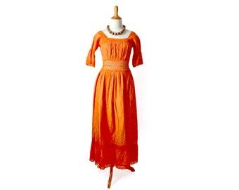 Orange Dress, Crochet Dress,  Boho Dress, Maxi Dress, XS Dress, Small Dress, Small Boho Dress, Hippie Dress, Womens Vintage Dress