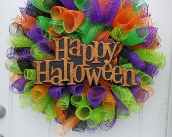 Halloween Wreath, Black, Green, Purple, and Orange Decomesh