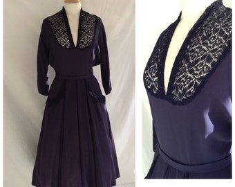 40s Navy Blue Dress, Smart , Dancing , UK size 10,US size 8.
