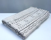 Handmade White African Mud Cloth/ Bogolanfini, Imported from Mali