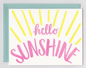 Hello sunshine letterpress printed card, just because note card