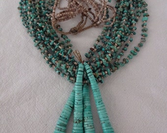 Heavy Old NAVAJO 10-Strand TURQUOISE Heishi Necklace with JACLA Joclas, 12o