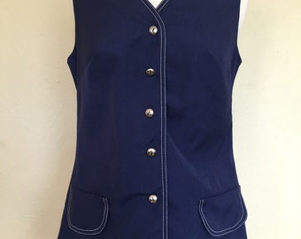 Vintage Navy Blue Koret of California Koratron Vest with Silver Buttons, Front Faux Pockets, Contrast Stitching
