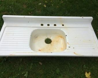 Awesome Vintage Farmhouse Sink Enamel Cast Iron