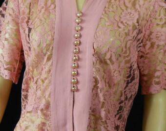 Vintage 40s Pink Lace Blouse Bust 40