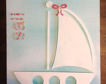Paper Crafted Sailboat Wall Decor
