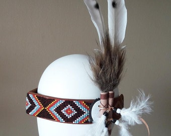 Indian Style Leather headband with black and white Feathers