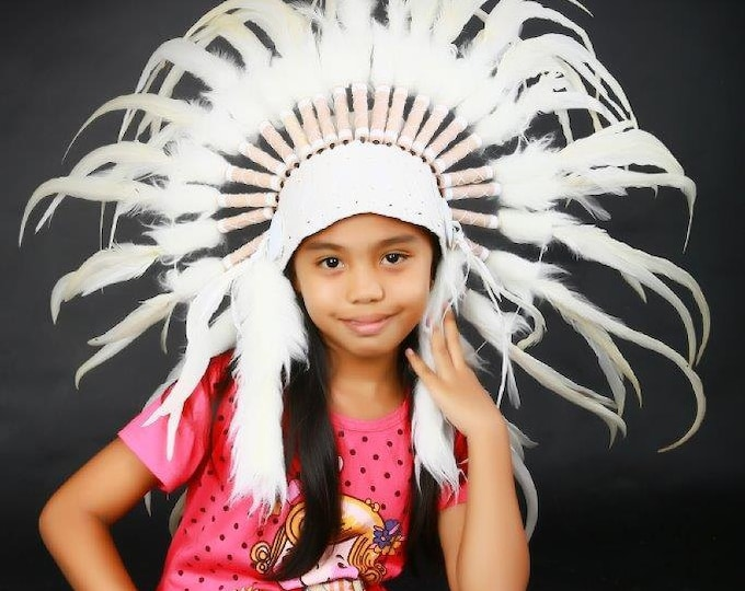 K11 From 5-8 years Kid / Child's: white rooster feather Headdress 21 inch. – 53,34 cm.
