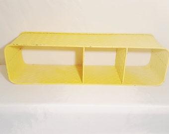 Yellow Galvanized Metal Shelf, Vintage