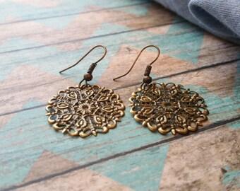 Oxidized Brass Filigree Earrings - Free Shipping US